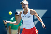 Magda Linette of Poland competes against Kristyna Pliskova of the Czech Republic during day two of the Bank of the West Classic at the Stanford...
