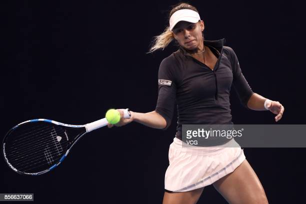 Magda Linette of Poland competes during the Women's singles second round match against Elena Vesnina of Russia on day three of the 2017 China Open on...