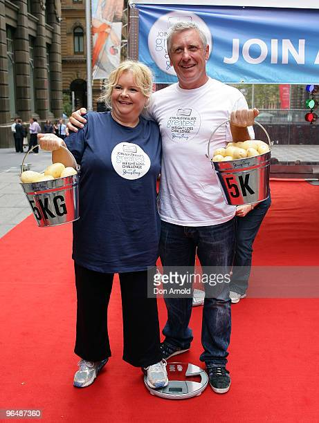 Magda Szubanski and Ian 'Dicko' Dickinson launch 'Australia's Greatest Weight Loss Challenge' at Martin Place on February 8 2010 in Sydney Australia...