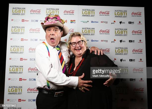 Magda Szubanski and Molly Meldrum pose at the Australian LGBTI Awards 2017 at Sydney Opera House on March 2 2017 in Sydney Australia