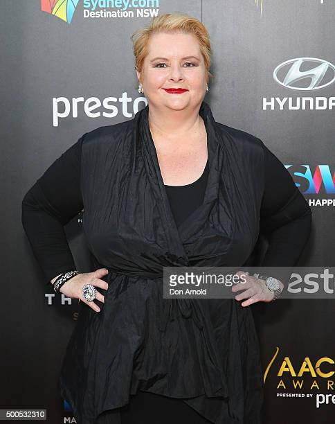 Magda Szubanski poses on the red carpet for the 5th AACTA Awards at The Star on December 9 2015 in Sydney Australia