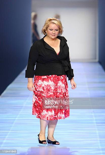 Magda Szubanski showcases a design on the catwalk during 'Magazines Go Live' as part of the 30 Days of Fashion and Beauty at the Royal Hall of...
