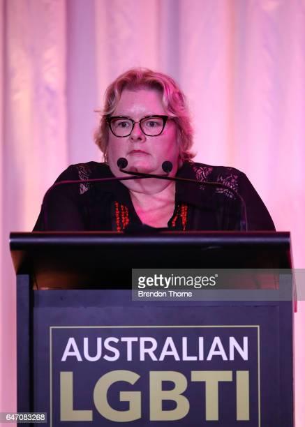 Magda Szubanski speaks at the Australian LGBTI Awards 2017 at Sydney Opera House on March 2 2017 in Sydney Australia