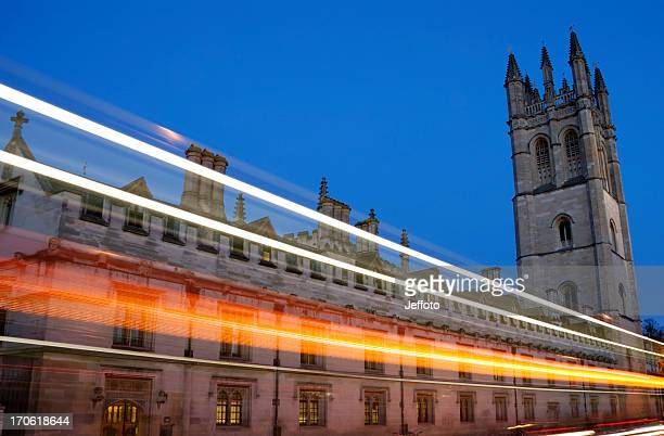 Magdalen College university building Oxford at night