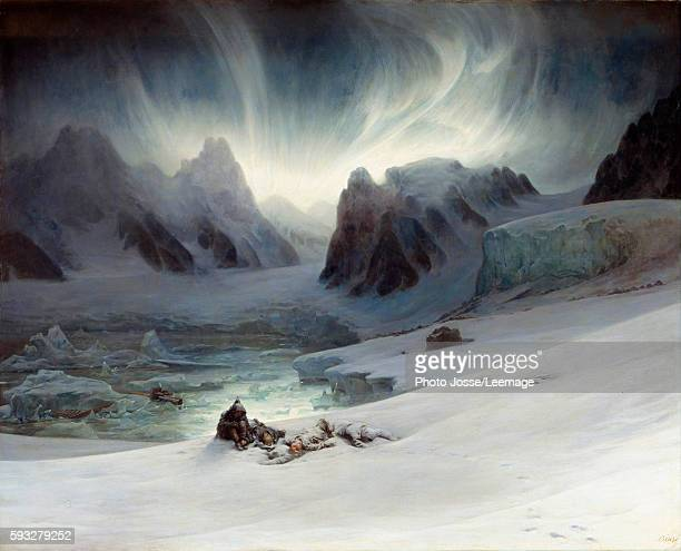 Magdalena Bay seen from the halfisland of the tombs North of Spitzbergen Aurora Borealis effect Painting by Francois Auguste Biard 19th century 13 x...