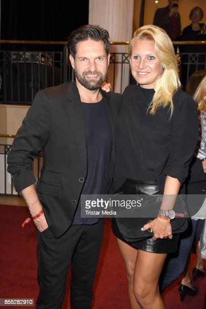 Magdalena Brzeska and her boyfriend Kai Schwarz attend the 'Bodyguard Das Musical' premiere at Stage Palladium Theater on September 28 2017 in...