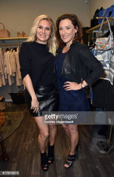 Magdalena Brzeska and Simone Ballack during the 'Kunst Kleid' fashion cocktail on April 25 2017 in Munich Germany