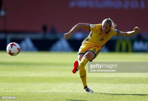 Magdalena Ericsson of Sweden runs with the ball during the Group B match between Sweden and Russia during the UEFA Women's Euro 2017 at Stadion De...
