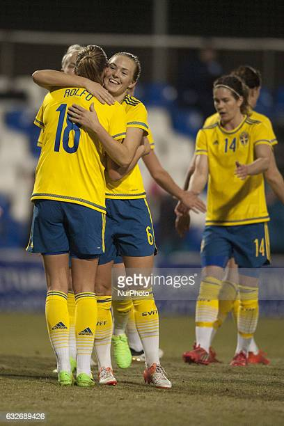 Magdalena Eriksson Fridolina Rolfo during the preseason friendly match between national women's Sweden vs England in Pinatar Arena San Pedro del...