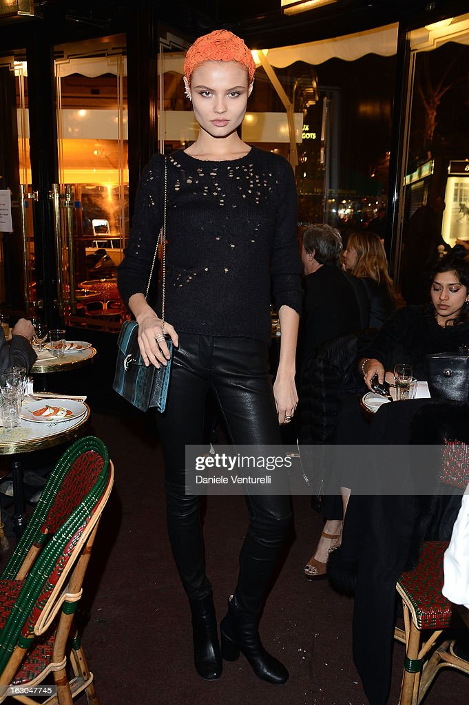 Magdalena Frackowiak attends the Bulgari And Purple Magazine Party at Cafe de Flore on March 3 2013 in Paris France