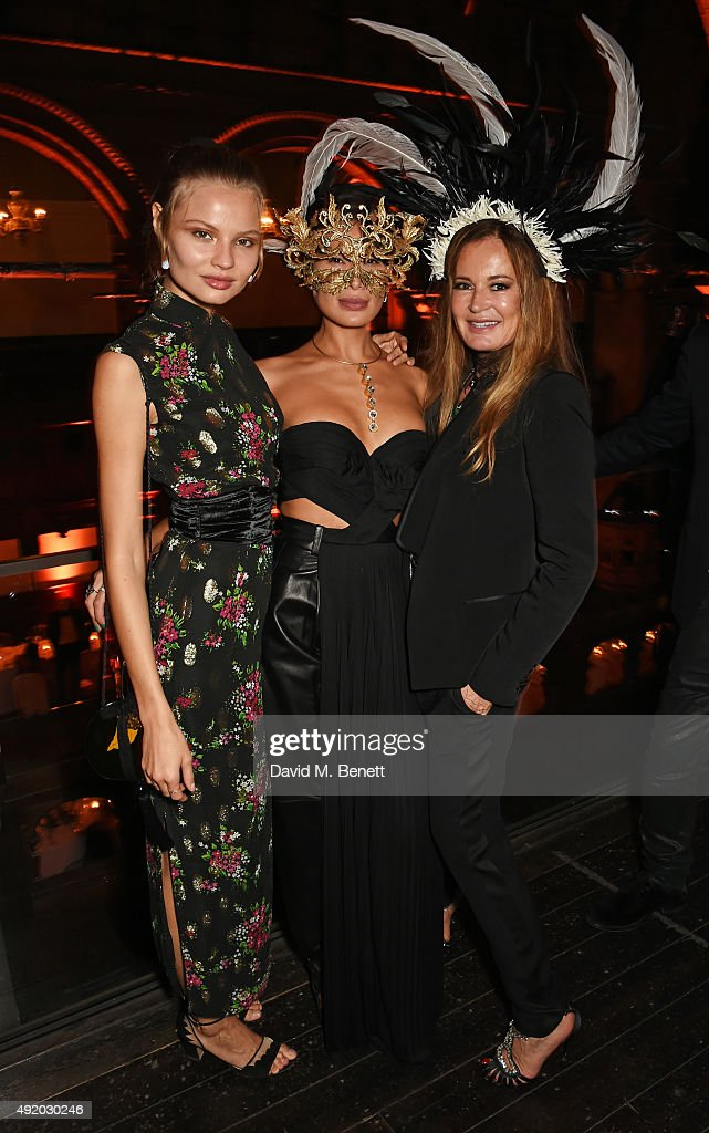 Magdalena Frackowiak Goga Ashkenazi and Eva Cavalli attend Eva Cavalli's birthday dinner party at One Mayfair on October 9 2015 in London England