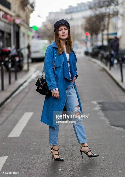 Magdalena Ilic wearing a blue denim coat and ripped jeans during the Paris Fashion Week Womenswear Fall/Winter 2016/2017 on March 5 2016 in Paris...
