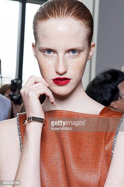 Magdalena Jasek backstage at the Jason Wu fashion show during the Spring Summer 2016 New York Fashion Week on September 11 2015 in New York City
