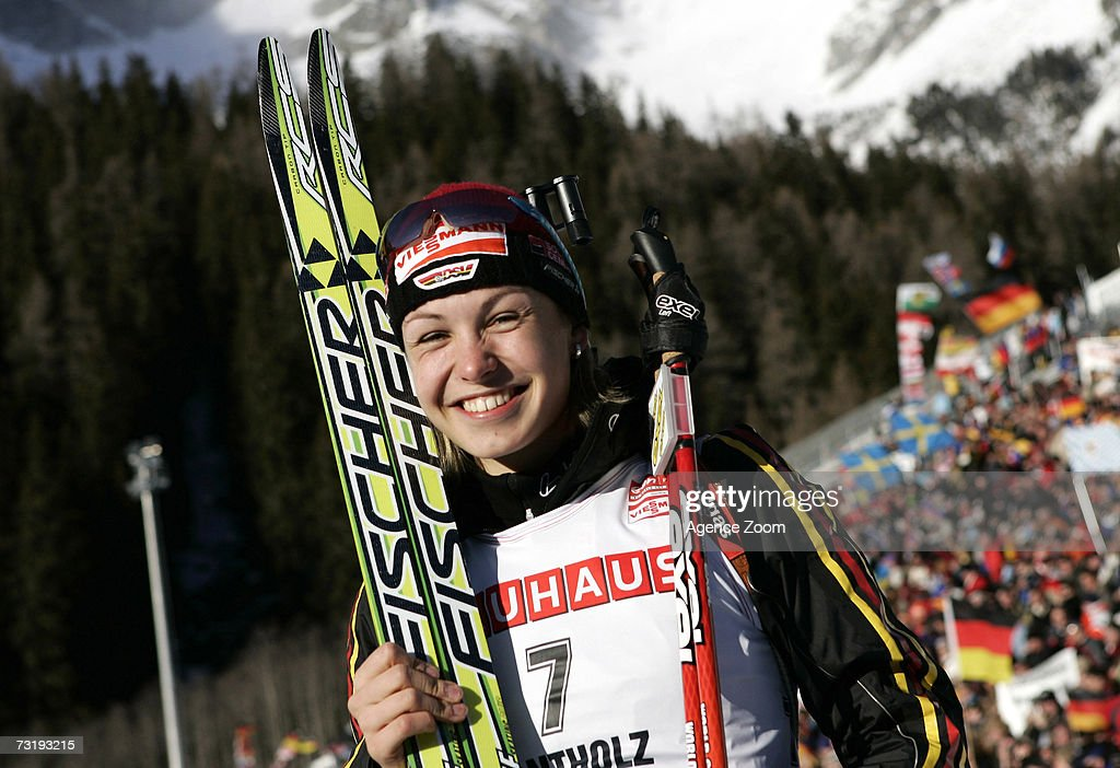 Magdalena Neuner of Germany celebrates placing first after the IBU Biathlon World Championships Biathlon Ladies Sprint 7.5km event on February 3, 2007 in Antholz, Italy.