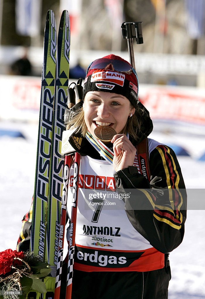 Magdalena Neuner of Germany celebrates taking first place in the IBU Biathlon World Championships Biathlon Ladies Sprint 7.5km event on February 3, 2007 in Antholz, Italy.