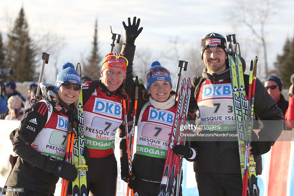 <a gi-track='captionPersonalityLinkClicked' href=/galleries/search?phrase=Magdalena+Neuner&family=editorial&specificpeople=2095093 ng-click='$event.stopPropagation()'>Magdalena Neuner</a> of Germany celebrates with <a gi-track='captionPersonalityLinkClicked' href=/galleries/search?phrase=Daniel+Boehm&family=editorial&specificpeople=4595949 ng-click='$event.stopPropagation()'>Daniel Boehm</a> of Germany, <a gi-track='captionPersonalityLinkClicked' href=/galleries/search?phrase=Kathrin+Hitzer&family=editorial&specificpeople=4001285 ng-click='$event.stopPropagation()'>Kathrin Hitzer</a> of Germany and <a gi-track='captionPersonalityLinkClicked' href=/galleries/search?phrase=Alexander+Wolf&family=editorial&specificpeople=770696 ng-click='$event.stopPropagation()'>Alexander Wolf</a> of Germany after the mixed relay during the E.ON IBU Biathlon World Cup on February 5, 2011 in Presque Isle, Maine.