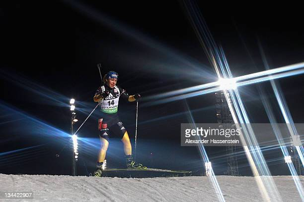 Magdalena Neuner of Germany competes at the women's 15km individual race during the EON IBU World Cup Biathlon at the Ostersund Ski Stadium on...