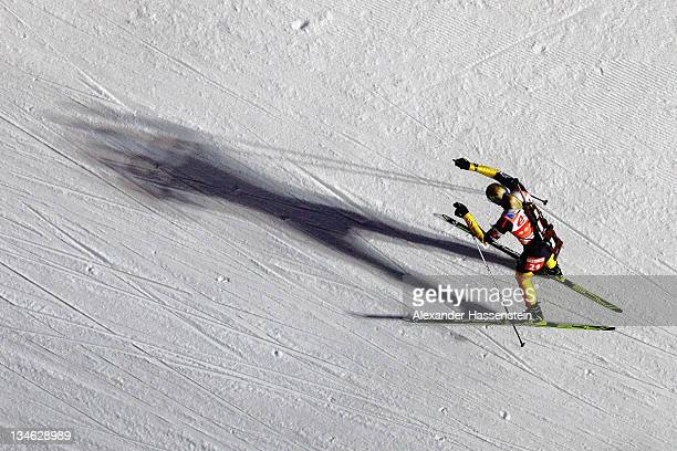 Magdalena Neuner of Germany competes at the women's 75 km sprint race during the EON IBU World Cup Biathlon at the Ostersund Ski Stadium on December...