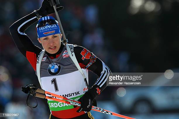 Magdalena Neuner of Germany competes at the zeoring for the women's mass start during the IBU Biathlon World Championships at AV Philipenko winter...