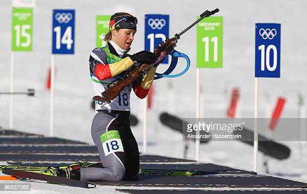 Magdalena Neuner of Germany competes during the Biathlon Women's 15 km individual on day 7 of the 2010 Vancouver Winter Olympics at Whistler Olympic...