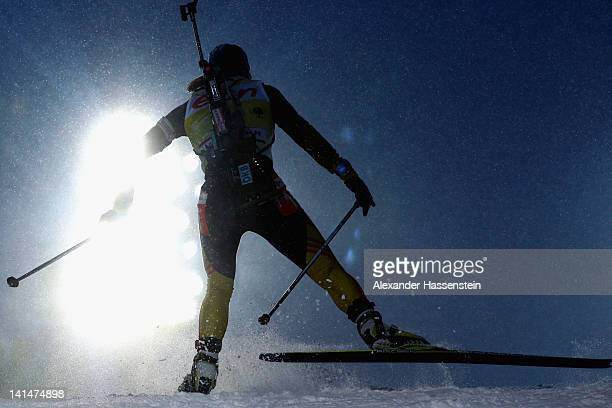 Magdalena Neuner of Germany competes in the Women's 10km Pursuit event of the IBU Biathlon World Cup at AV Philipenko winter sports centre on March...
