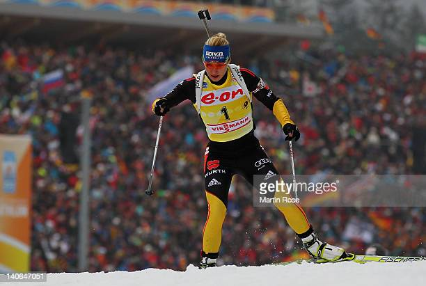 Magdalena Neuner of Germany competes in the Women's 10km Pursuit during the IBU Biathlon World Championships at Chiemgau Arena on March 4 2012 in...
