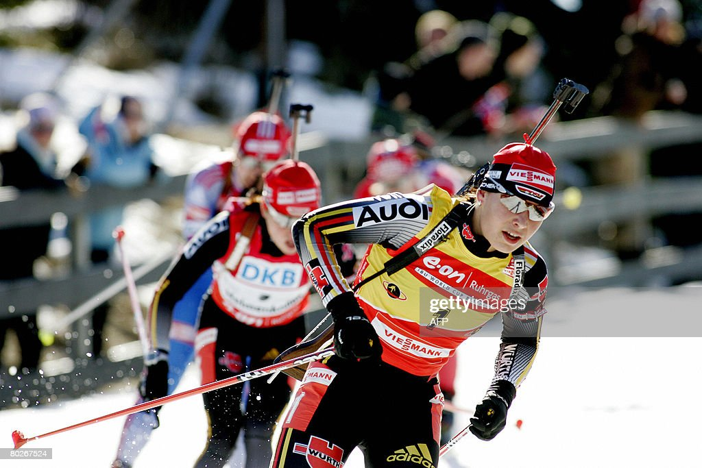 Magdalena Neuner of Germany competes in the women's 12.5 km mass start at the World Cup Biathlon ski race in Oslo on March 16, 2008. Kati Wilhelm of Germany placed first ahead of Solveig Rogstad of Norway and Michela Ponza of Italy.