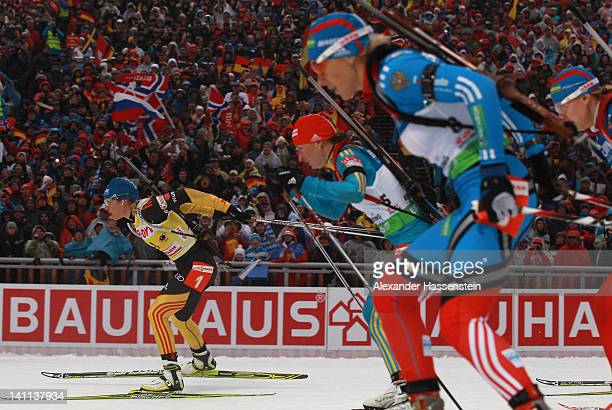 Magdalena Neuner of Germany competes in the Women's 125km Mass Start during the IBU Biathlon World Championships at Chiemgau Arena on March 11 2012...