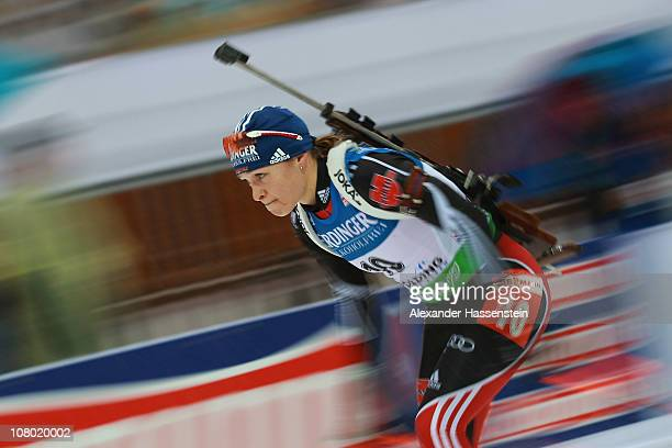 Magdalena Neuner of Germany competes in the women's 15 km individual event during the eon IBU Biathlon World Cup at the Chiemgau Arena on January 13...