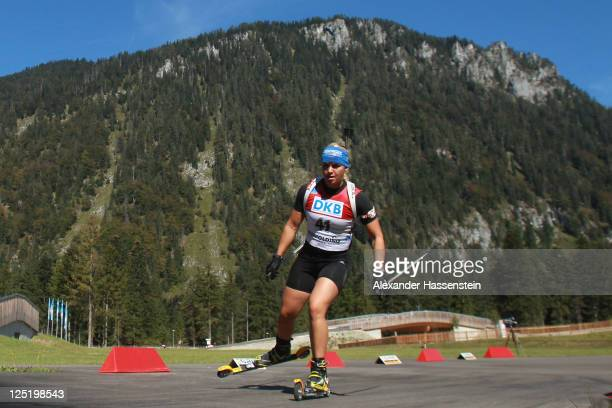 Magdalena Neuner of Germany competes in the women's 15 km individual event during the German Championships at the Chiemgau Arena on September 16 2011...