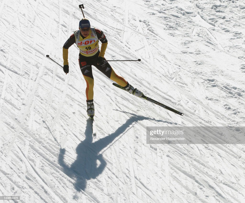 <a gi-track='captionPersonalityLinkClicked' href=/galleries/search?phrase=Magdalena+Neuner&family=editorial&specificpeople=2095093 ng-click='$event.stopPropagation()'>Magdalena Neuner</a> of Germany competes in the Women's 15km Individual during the IBU Biathlon World Championships at Chiemgau Arena on March 7, 2012 in Ruhpolding, Germany.