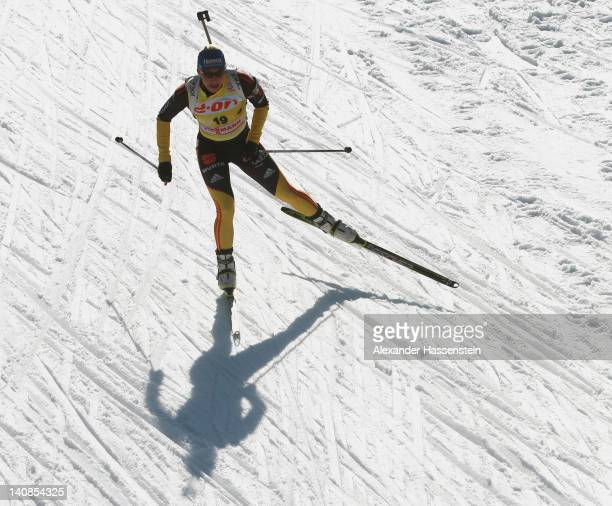 Magdalena Neuner of Germany competes in the Women's 15km Individual during the IBU Biathlon World Championships at Chiemgau Arena on March 7 2012 in...