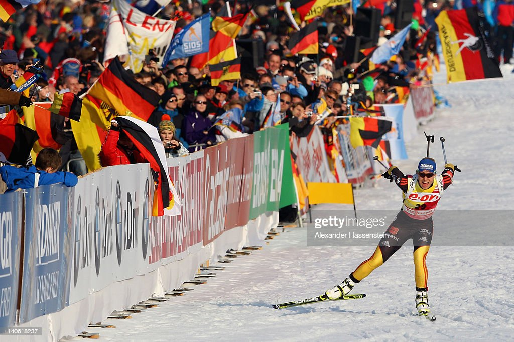 <a gi-track='captionPersonalityLinkClicked' href=/galleries/search?phrase=Magdalena+Neuner&family=editorial&specificpeople=2095093 ng-click='$event.stopPropagation()'>Magdalena Neuner</a> of Germany competes in the women's 7,5km sprint during the IBU Biathlon World Championships at Chiemgau Arena on March 3, 2012 in Ruhpolding, Germany.
