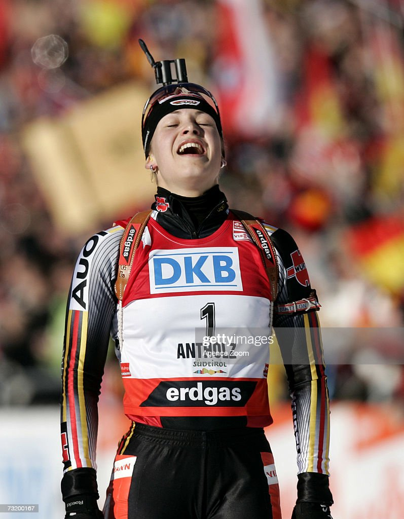 Magdalena Neuner of Germany competes on her way to placing first in the IBU Biathlon World Championships Biathlon Ladies 10Km Pursuit event on February 4, 2007 in Antholz, Italy.