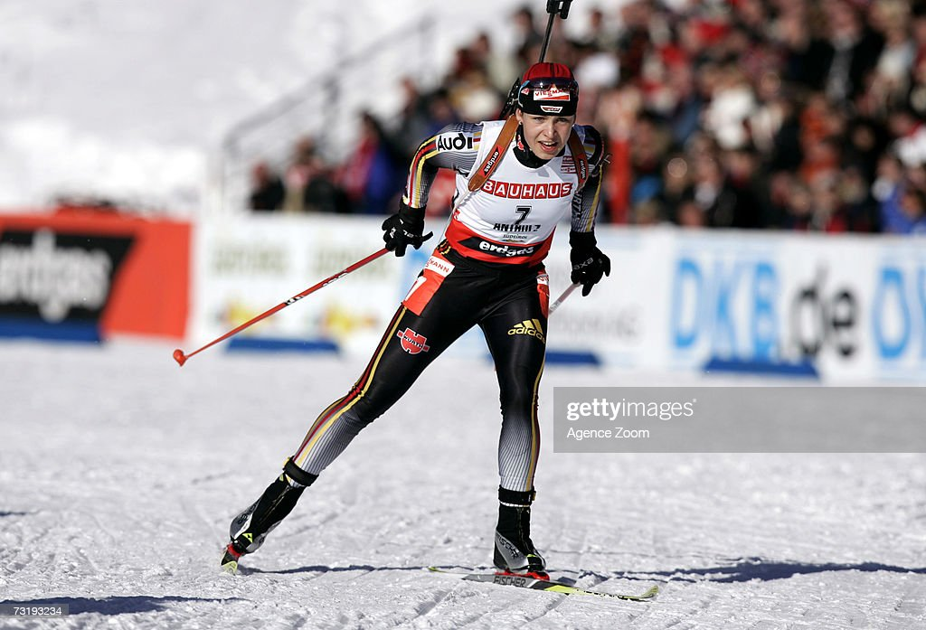 Magdalena Neuner of Germany competes on her way to placing first during the IBU Biathlon World Championships Biathlon Ladies Sprint 7.5km event on February 3, 2007 in Antholz, Italy.