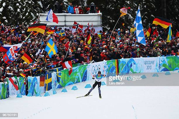 Magdalena Neuner of Germany competes on her way to winning the gold medal in the Women's Biathlon 10km Pursuit on day 5 of the 2010 Vancouver Winter...