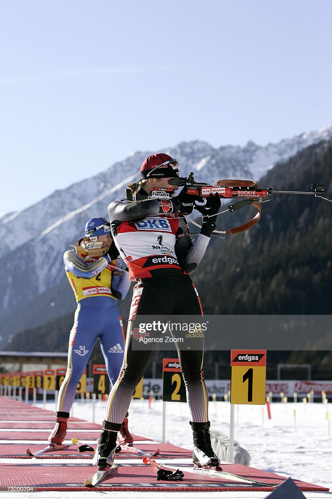 Magdalena Neuner (front) of Germany, first place, and Anna Carin Olofsson of Sweden, third place, compete in the IBU Biathlon World Championships Biathlon Ladies 10Km Pursuit event on February 4, 2007 in Antholz, Italy.