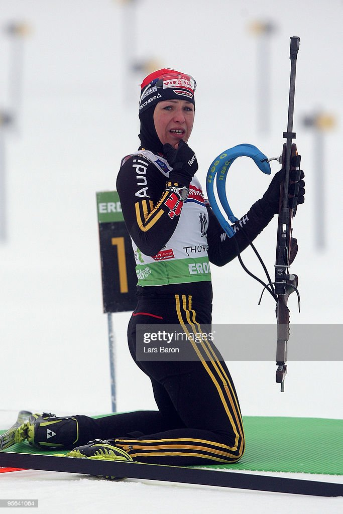 <a gi-track='captionPersonalityLinkClicked' href=/galleries/search?phrase=Magdalena+Neuner&family=editorial&specificpeople=2095093 ng-click='$event.stopPropagation()'>Magdalena Neuner</a> of Germany is seen at the shooting range prior to the Women's 7,5km Sprint in the e.on Ruhrgas IBU Biathlon World Cup on January 8, 2010 in Oberhof, Germany.