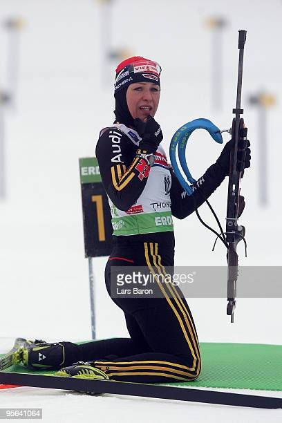 Magdalena Neuner of Germany is seen at the shooting range prior to the Women's 75km Sprint in the eon Ruhrgas IBU Biathlon World Cup on January 8...