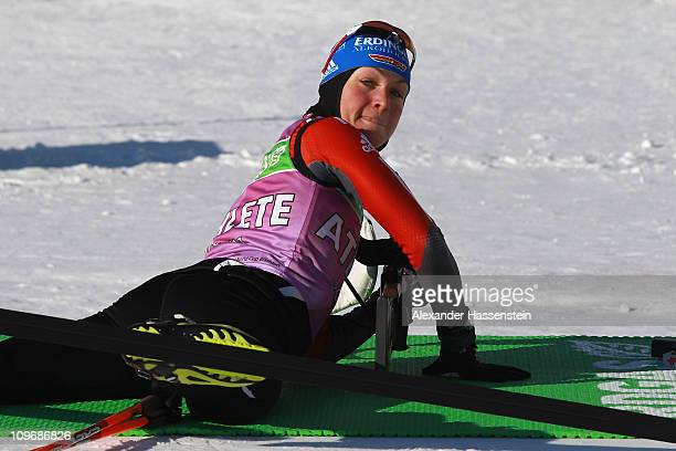 Magdalena Neuner of Germany looks on during a training session at AV Philipenko winter sports centre on March 1 2011 in KhantyMansiysk Russia The IBU...
