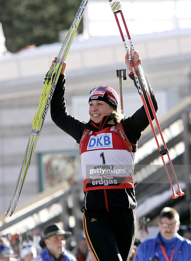 Magdalena Neuner of Germany poses after placing first in the IBU Biathlon World Championships Biathlon Ladies 10Km Pursuit event on February 4, 2007 in Antholz, Italy.