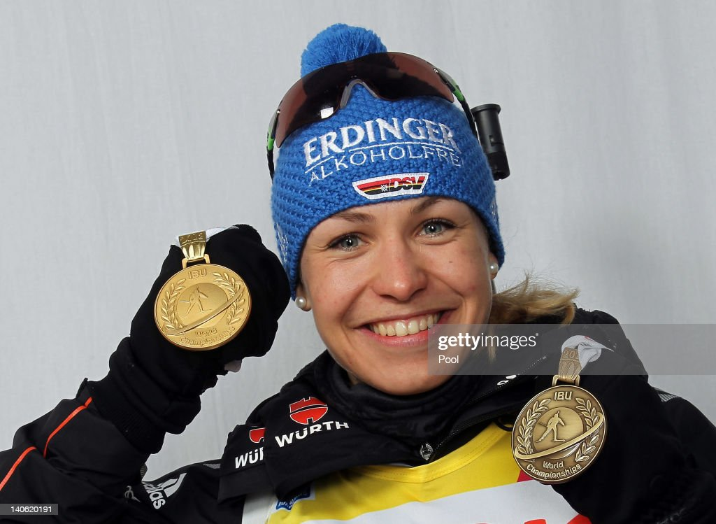 <a gi-track='captionPersonalityLinkClicked' href=/galleries/search?phrase=Magdalena+Neuner&family=editorial&specificpeople=2095093 ng-click='$event.stopPropagation()'>Magdalena Neuner</a> of Germany poses with her gold for the women's 7,5km sprint and bronze medal for the mixed relay during the IBU Biathlon World Championships at Chiemgau Arena on March 3, 2012 in Ruhpolding, Germany.