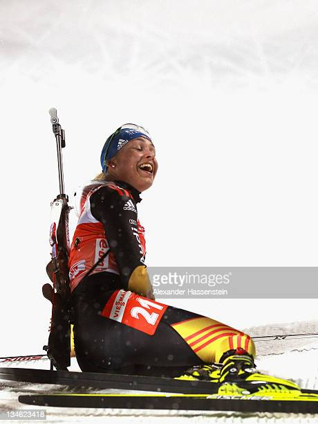 Magdalena Neuner of Germany reacts at the finish line of the women's 75 km sprint race during the EON IBU World Cup Biathlon at the Ostersund Ski...