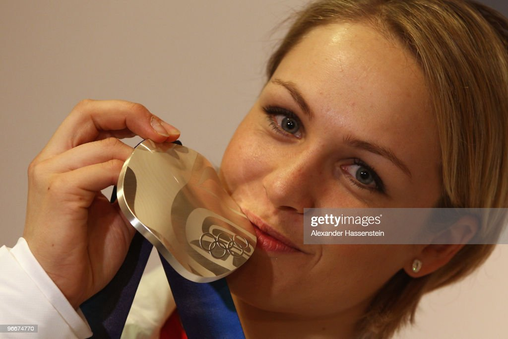 Magdalena Neuner of Germany, silver medalist in the Women's Biathlon 7.5 km Sprint on day 2 of the Vancouver 2010 Winter Olympics poses at the German House on February 13, 2010 in Whistler, Canada.