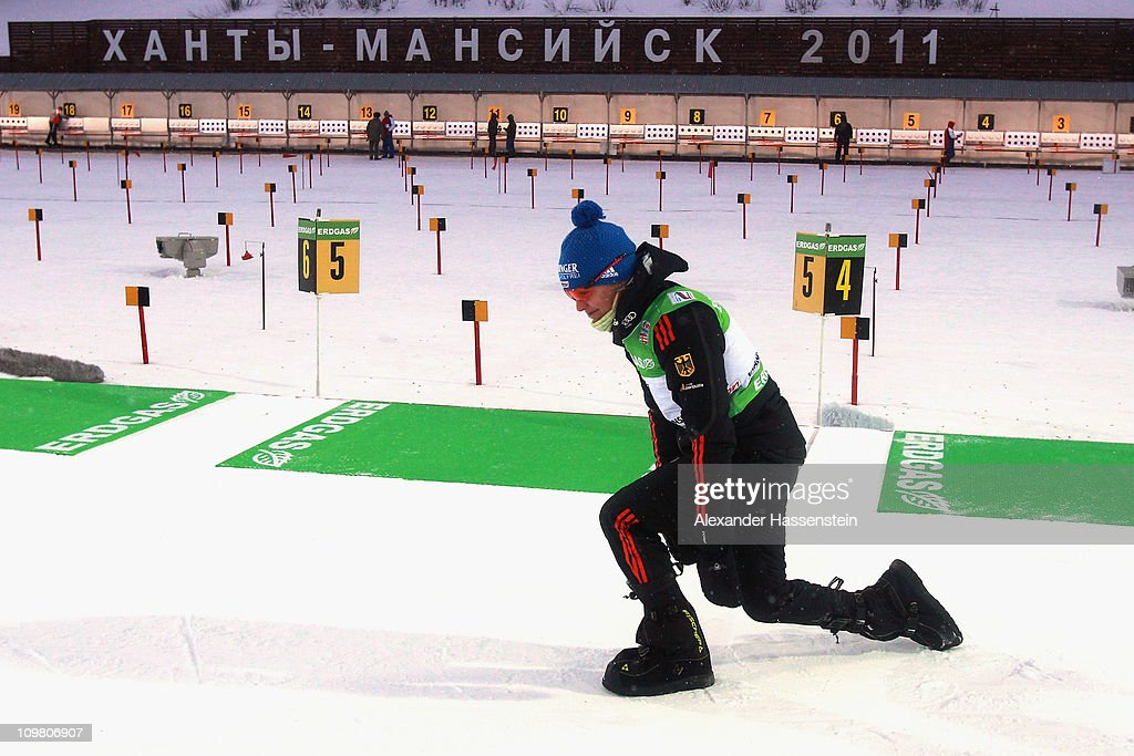 <a gi-track='captionPersonalityLinkClicked' href=/galleries/search?phrase=Magdalena+Neuner&family=editorial&specificpeople=2095093 ng-click='$event.stopPropagation()'>Magdalena Neuner</a> of Germany smiles after falling from a reindeer sleigh as she celebrates her victory after winning the silver medal in the women's 10km pursuit during the IBU Biathlon World Championships at A.V. Philipenko winter sports centre on March 6, 2011 in Khanty-Mansiysk, Russia.