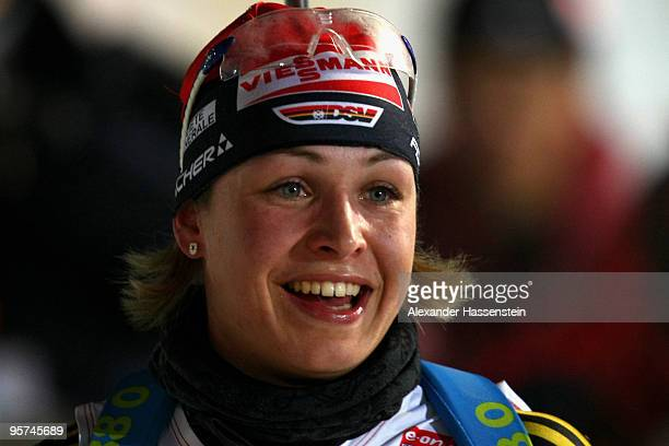 Magdalena Neuner of Germany smiles after the Women's 75km Sprint in the eon Ruhrgas IBU Biathlon World Cup on January 13 2010 in Ruhpolding Germany