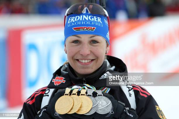 Magdalena Neuner of Germany takes 1st place during the IBU Biathlon World Championships Women's 4x6km Relay on March 13 2011 in KhantyMansiysk Russia