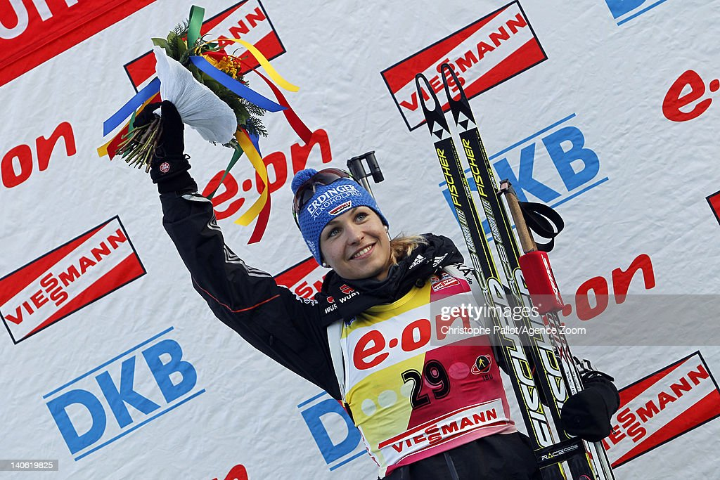 <a gi-track='captionPersonalityLinkClicked' href=/galleries/search?phrase=Magdalena+Neuner&family=editorial&specificpeople=2095093 ng-click='$event.stopPropagation()'>Magdalena Neuner</a> of Germany takes 1st place during the IBU Biathlon World Championships Women's Sprint on March 03, 2012 in Ruhpolding, Germany.