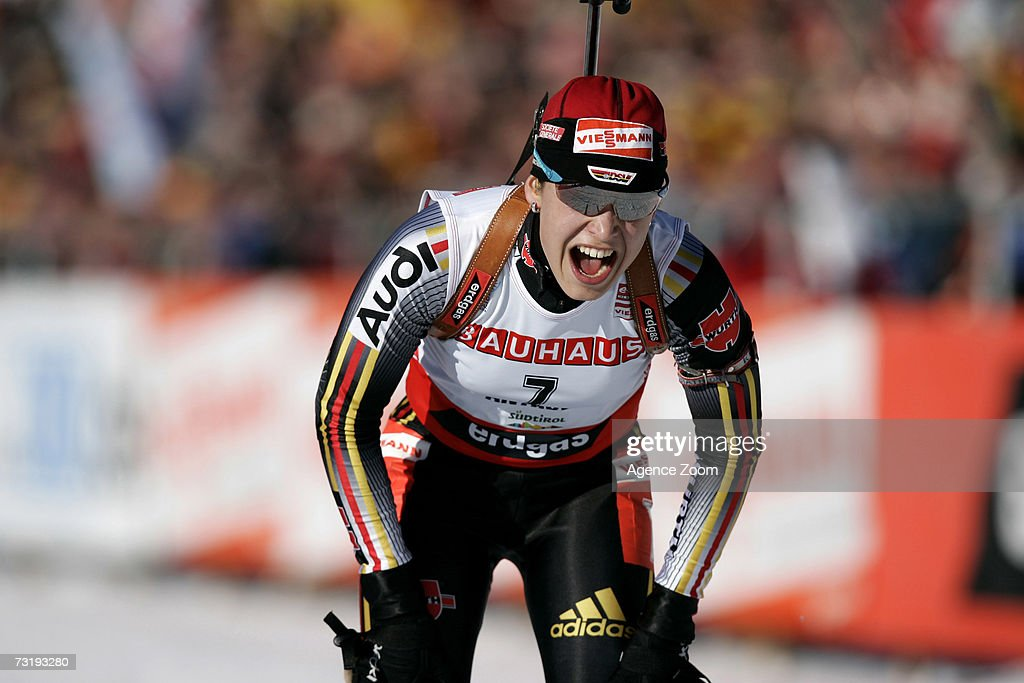 Magdalena Neuner of Germany takes first place during the IBU Biathlon World Championships Biathlon Ladies Sprint 7.5km event on February 3, 2007 in Antholz, Italy.
