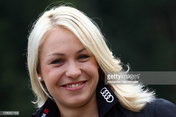 Magdalena Neuner of team Germany smiles during the Biathlon mediaday at Chiemgau Arena in Ruhpolding on September 15 2011 in Ruhpolding Germany